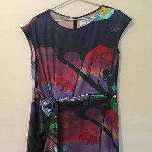 united bamboo multicolor silk dress - size 6